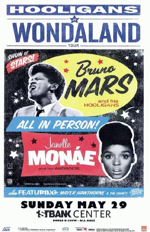 Concert poster for Bruno Mars and Janelle Monae at The First Bank Center in Broomfield, CO in 2011. 11 x 17 inches