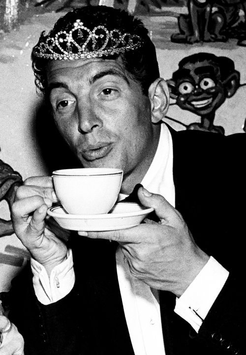 Dean Martin i think this time there is scotch in his tea cup.....not! He actually never drank it was all a stage act he put on