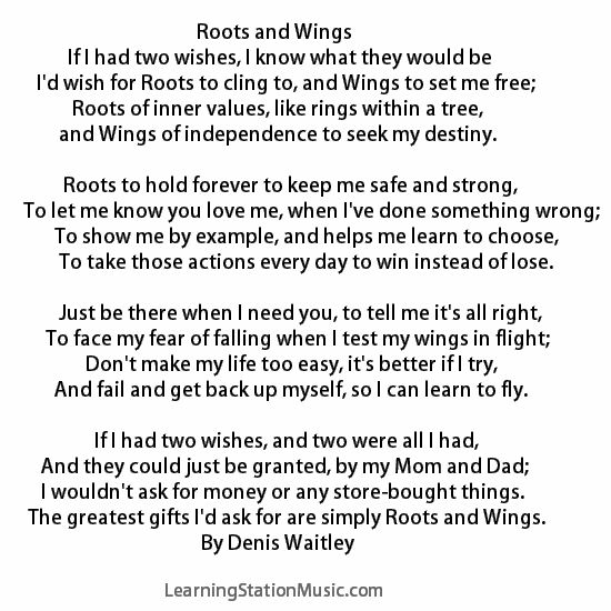 """We came upon this classic poem, """"Roots and Wings"""". It truly expresses how to raise a stable, independent and successful child. We encourage everyone to read this moving poem, and share it with your family, friends and fellow teachers. #quotes #parenting #success"""