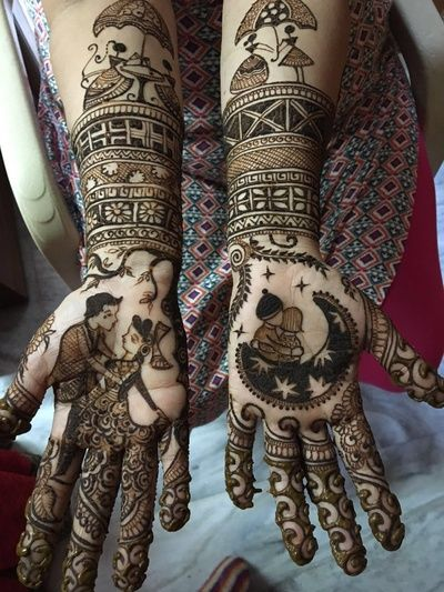 Mehendi Designs - Beautiful Modern Intricate Mehendi Hand Design with Bride and Groom Caricatures | WedMeGood #mehendidesign #mehandi #henna #indianbride #indianhenna #bride #bridal