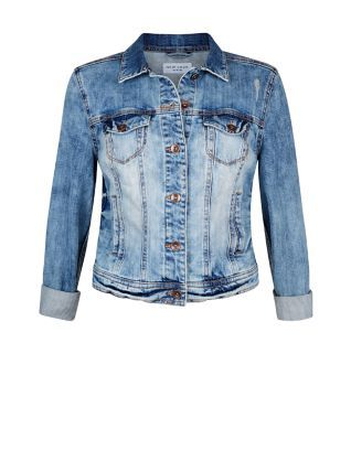 Blue Faded Ripped Double Pocket Denim Jacket  | New Look