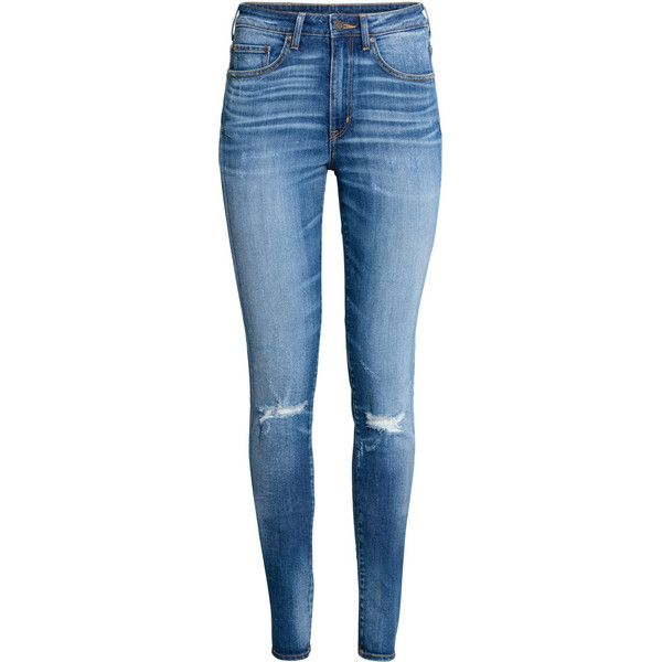Skinny High Waist Jeans 39,99 ($40) ❤ liked on Polyvore featuring jeans, high rise skinny jeans, skinny leg jeans, high-waisted jeans, skinny fit denim jeans and blue jeans