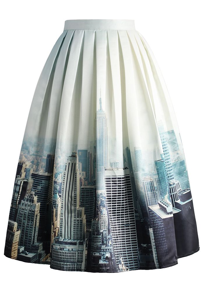 New York Skyline Printed Midi Skirt - New Arrivals - Retro, Indie and Unique Fashion