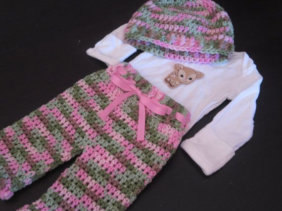 camo, baby girl, crochet camo set, layette, coming home outfit, deer, baby deer, crochet, knit, baby shower gift