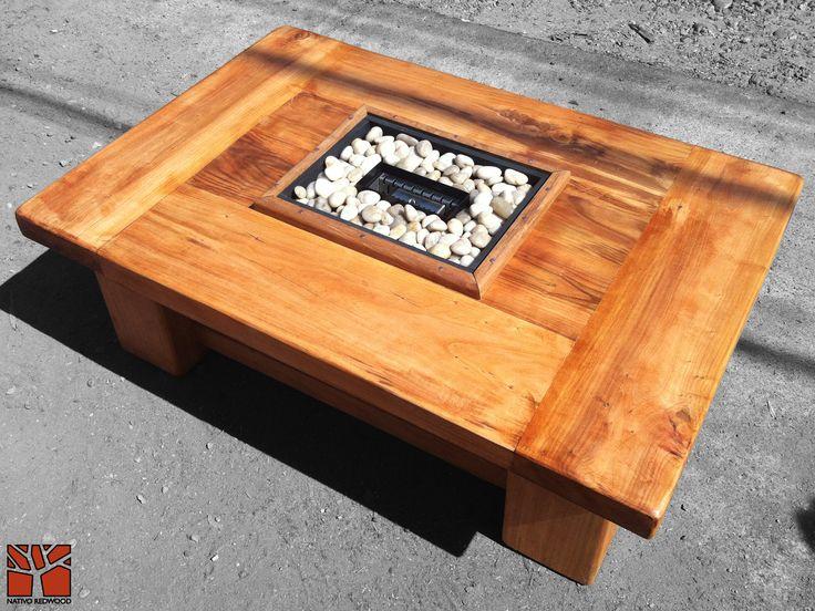 """Nativo Red Wood. Mesa de centro linea """"Line Wood"""" con cubierta de madera de Roble Rústico de 3'' de espesor con chimenea de etanol central. Dimensiones: 0.80x1.20 www.facebook.com/nativoredwoodsa"""