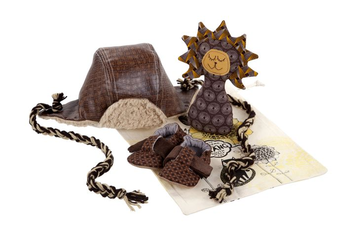 We love our sleeping lion rattle and faux leather aviator set.