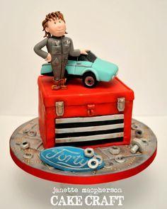 Car Mechanic 40th Birthday cake Janette MacPherson Cake Craft, www.facebook.com/JanetteMacPhersonCakeCraft