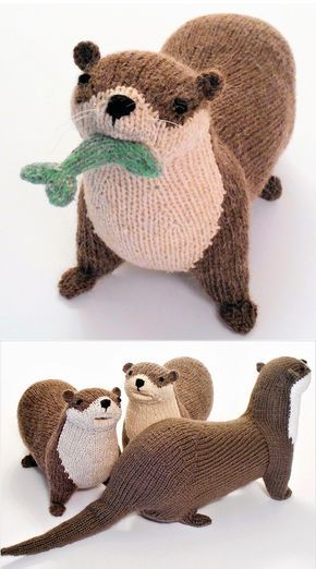 Knitting Pattern for River Otter – This otter softie is 14 inches long, plus an additional 7 inches for the tail, and 5 inches wide, in worsted weight yarn. Chest and head are worked flat, body, tail and legs are worked in the round. Knit almost entirely in one piece. The pattern has lots of pictures to illustrate construction. Pattern for the little fish is included. Designed by Sara Elizabeth Kellner