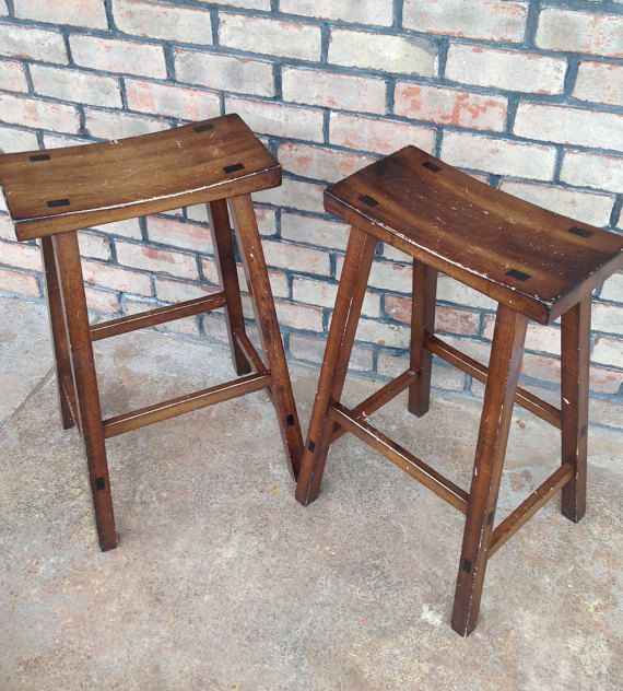 Paint to Order Saddle Bar Stools Set of 2 by WildBoarDesigns