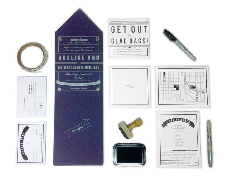 Marcus McMillenu0027s Black And White Wedding Invitation Packageu2014accentuated  With A Regal Purple Paper, Dense Metallic Ink, And Slangu2014is The Beeu0027s Knees.