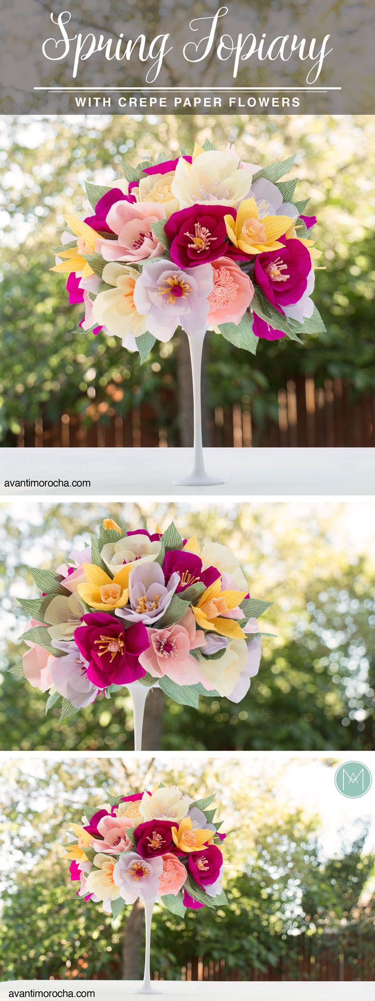 DIY Spring Topiary with crepe paper flowers / Topario con flores de papel…