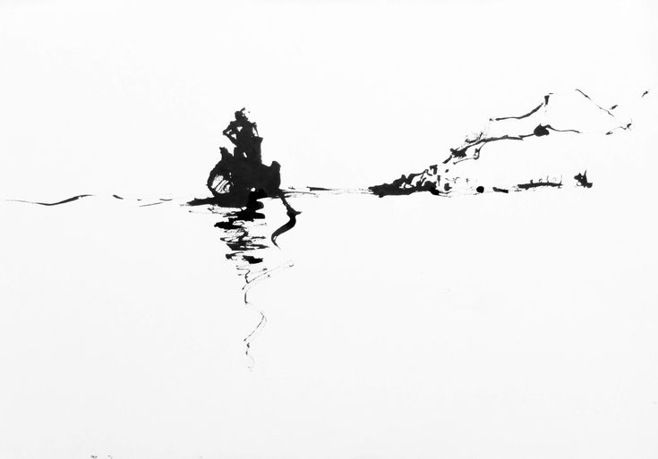 Fisherman on Calm Water, ink on paper