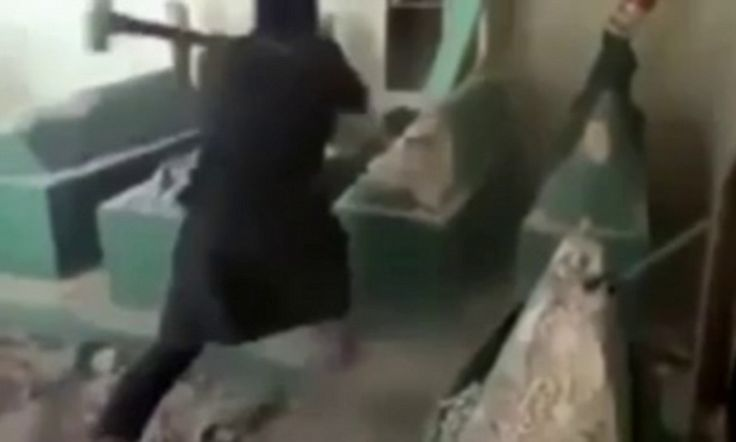 ISIS militants take sledgehammers to Mosul tombs.  I realize this makes the lefties uncomfortable but these people need to be killed.  To paraphrase Churchill, war doesn't wait until you're ready.  It finds you.  This is beyond the pale.  These people are a toxin.  They must be expunged to save humanity.
