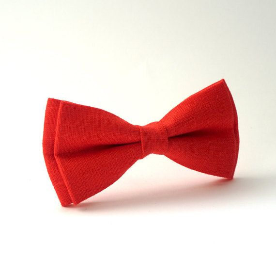 Bright Red linen bow tie Bowties for wedding Bridal Bow by Luwrine
