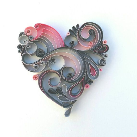 Quilled heart in pink and grey. Wedding gift. Anniversary gift. Love heart.