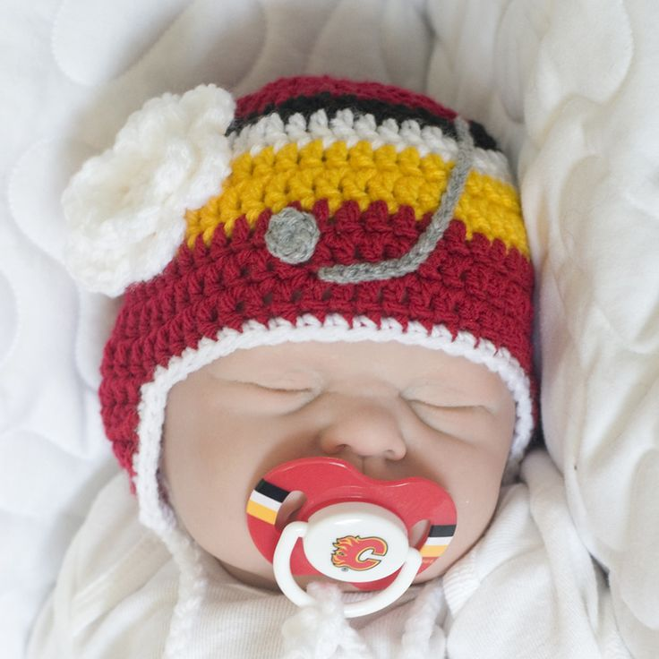 Baby Girl Hockey Hat with Flower & Calgary Flames NHL Logo Pacifier