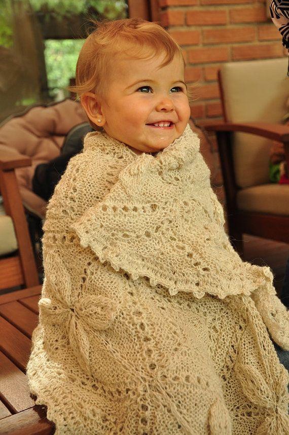Alpaca blanket/ Alpaca wool Shawl/ Hand knitted blanket/ baby blanket/ White blanket