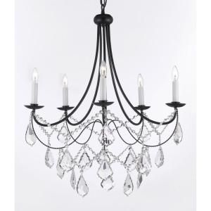 The 25 best black iron chandelier ideas on pinterest black versailles 5 light black iron chandelier with crystal t40 588 at the home depot aloadofball Images