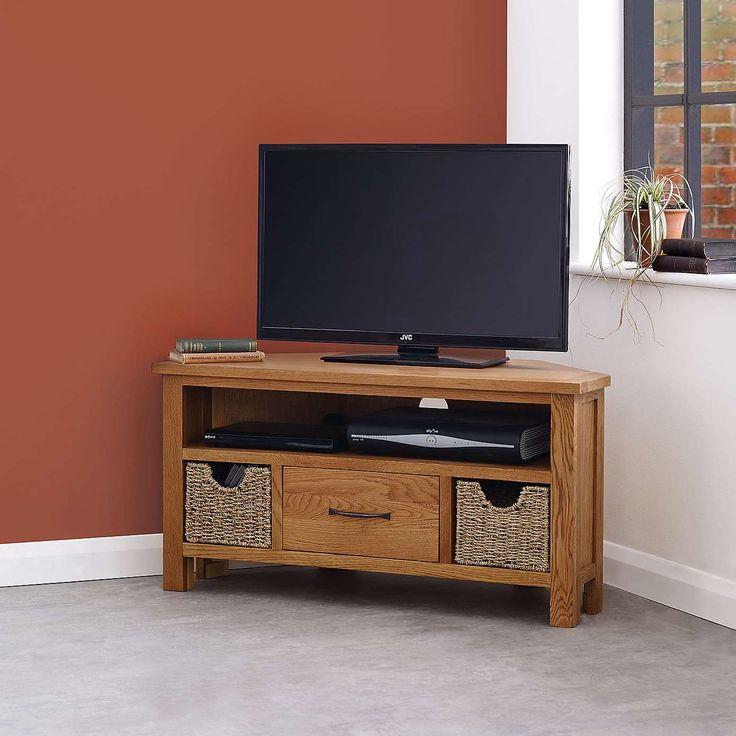 Sidmouth Oak Corner TV Stand | Dunelm
