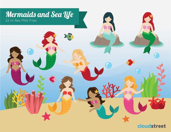 buy 2 get 1 free Mermaids and sea life Clipart for personal and commercial use ( cute mermaid clip art ) INSTANT DOWNLOAD on Etsy, $4.95