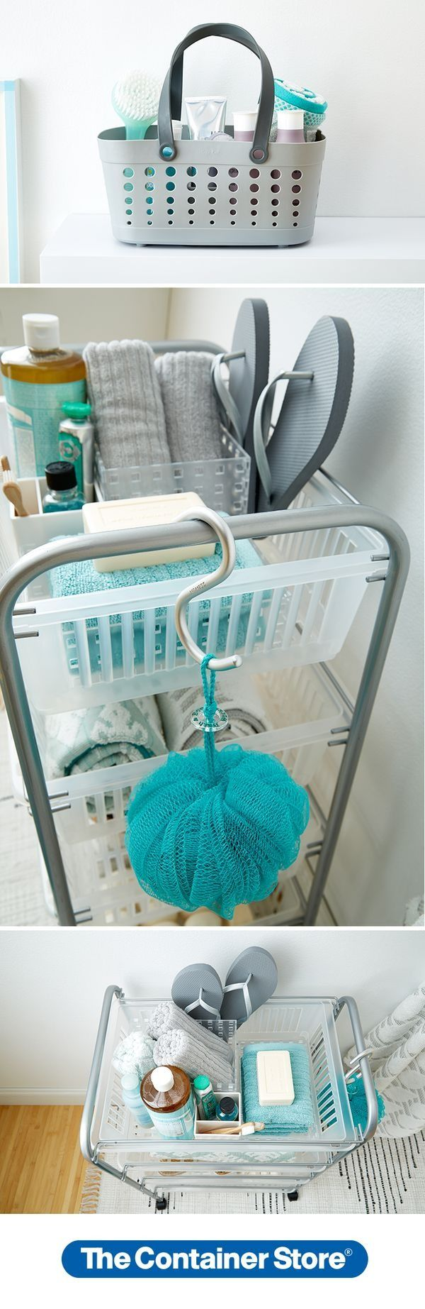 Don't let the community bathroom scare you! Set up all your bath essentials like flip-flops, towels, and toiletries on our Jumbo 4-Drawer Utility Cart. Our Casabella Flexible Shower Basket makes it easy to take shampoo, soap, razor and more to the shower down the hall.