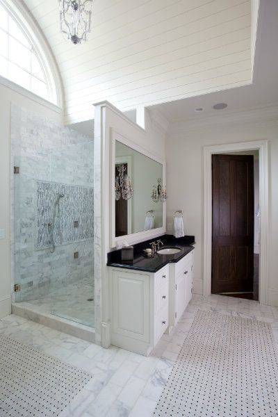 Shower Behind Vanity Hidden Shower Bathroom Design