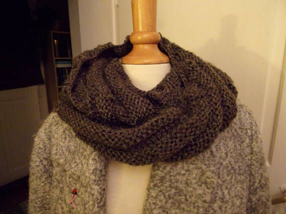 Snood large 2 tours gris fil brillant