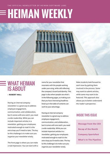 Plum And White Simple Building Employee Newsletter Newsletter