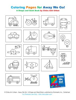 Free Shapes And Transportation Coloring Pages For Childrens Book Away We Go By Chiu