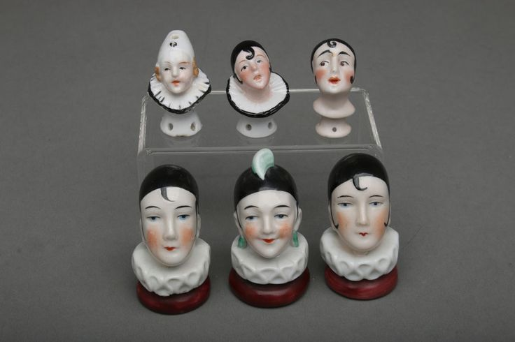 Lot of 6 German Porcelain Half Doll Heads, Pierrot w/ Ruff Collar