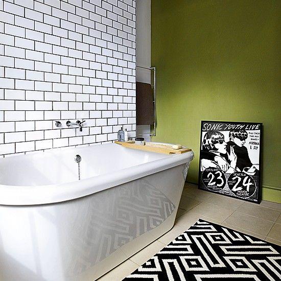 Green and white zingy bathroom | Modern bathroom | Bathroom design ideas | PHOTO GALLERY | Livingetc | Housetohome.co.uk