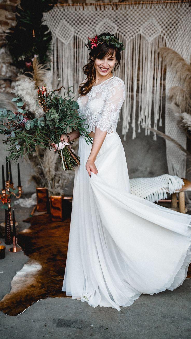 Boho Brautkleid Zweiteiler Hochzeitskleid Vintage Kathi & Chris