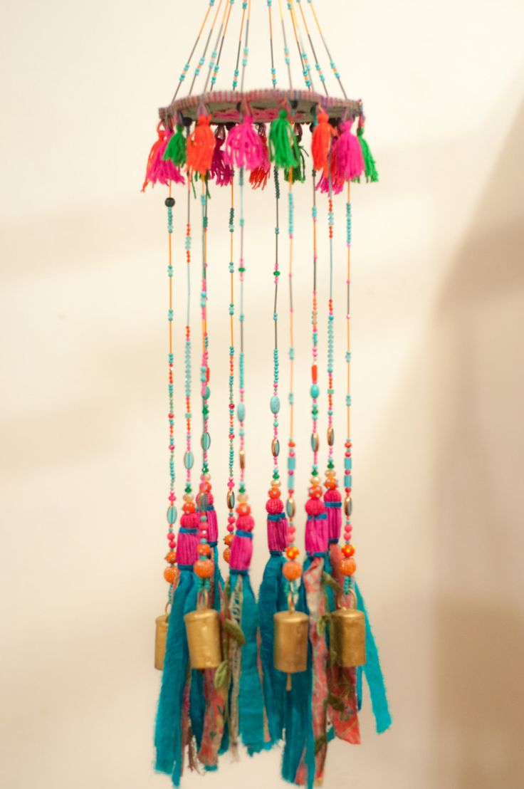 Wind chime garden art-turquoise mobile Bells-Wind Chime-unique wind chimes-pink suncatcher-boho mobile-window suncatchers-wind bells-mobile by RONITPETERART on Etsy