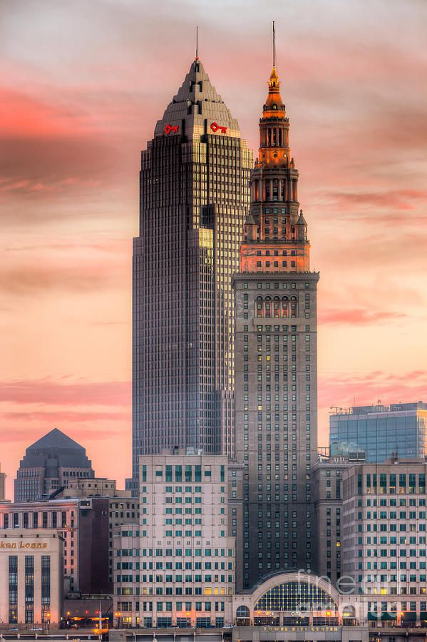 Cleveland Skyscrapers At Dawn (by Clarence Holmes)