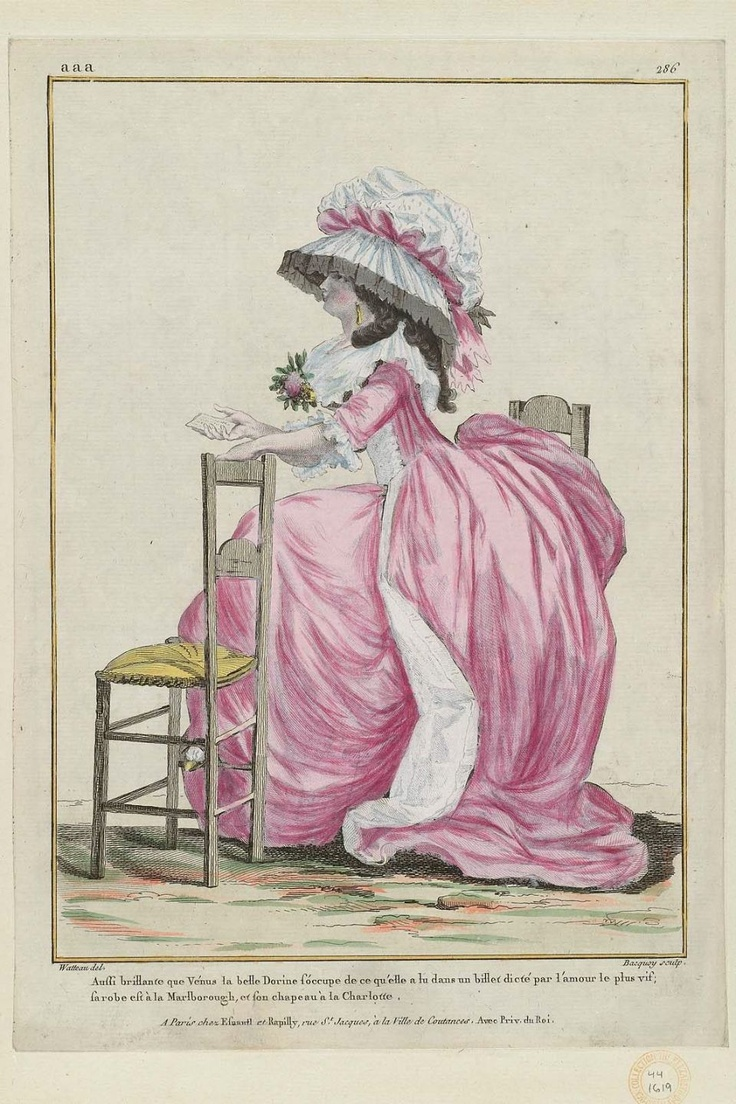 """""""Aussi brillante que Vénus la belle Dorine s'occupe … sa robe est à la Marlborough …"""" François Louis Joseph Watteau, Gallerie des Modes, 1785; engraving on paper    Museum of Fine Arts, Boston 44.1619; The Elizabeth Day McCormick Collection    mimic-of-modes: The description """"à la Marlborough"""" is relatively frequent in eighteenth century fashion, compared to the others shown in this series, but it is usually applied to hats.  According to Caroline Weber in Queen of Fashion, Marie Antoinette…"""