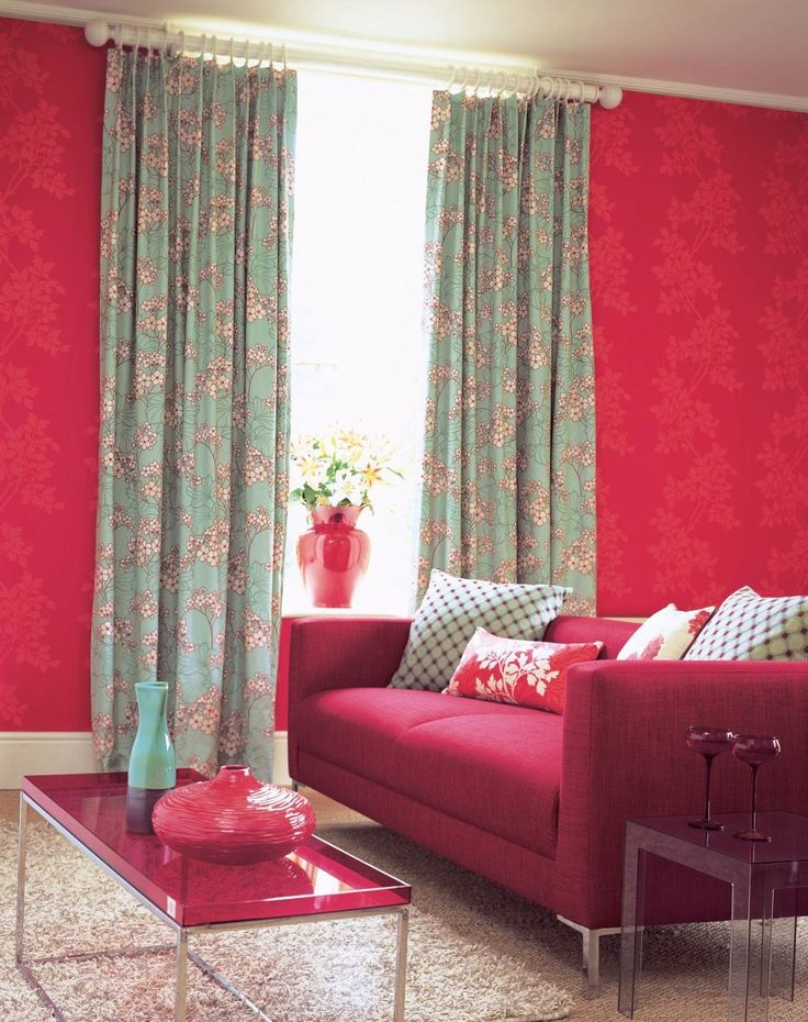 Living Room With Red Flowery Wallpaper And Red Sofa    http sectionalsofasale The 25  best Flowery wallpaper ideas on Pinterest   Floral border  . Red Living Room Wallpaper Ideas. Home Design Ideas