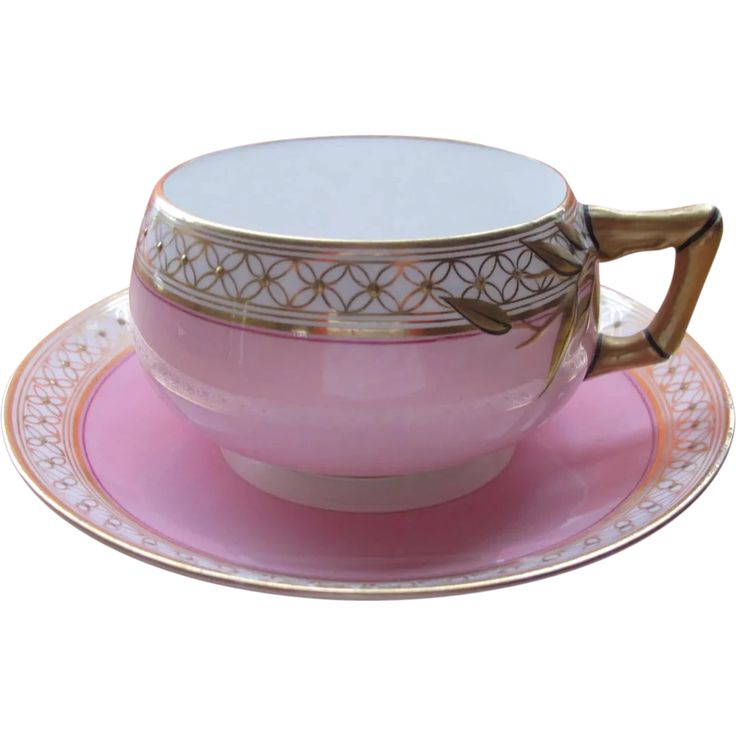 Porcelain Tea Cup Pink and Gold Bamboo Handle Marked Bone China