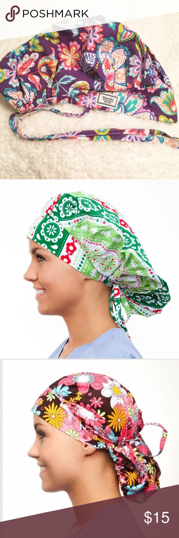 Blue Sky Scrubs Poppy Surgical Hat😷 Blue Sky Scrubs Poppy Surgical Hat😷 Pretty Paisley print of Greens, Oranges, Blues, and White on a Royal Purple background. Can be worn as a bouffant or pulled back with attached ties. *Model pictures are for hat style reference only* Blue Sky Scrubs Other