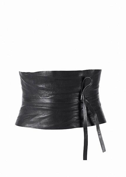 Crushed Leather Obi Belt   Lafayette 148 NY