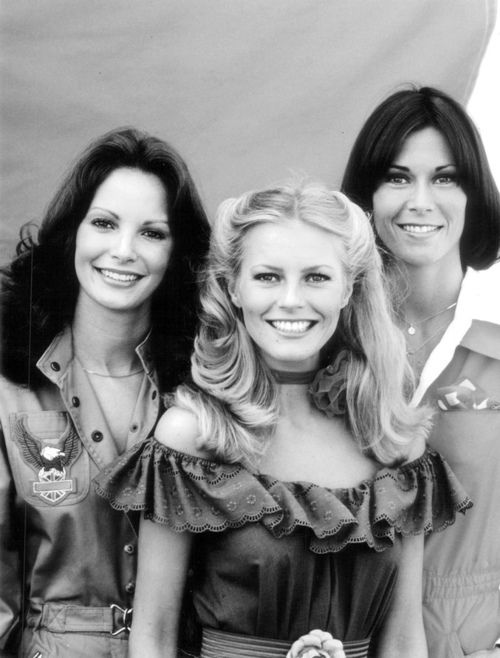 Charlies Angels circa 1977 - Jaclyn Smith, Cheryl Ladd and Kate Jackson.I loved that show.