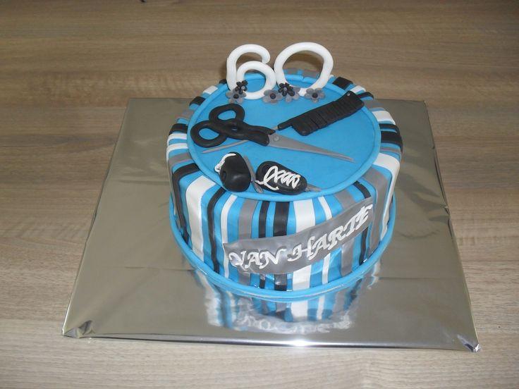 Taart blauw, 60 jaar, kapper, schaatsen/ cake blue, hairdresser, iceskates