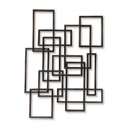 Dark Brown Rectangle Geometric Wall Sculpture Silver