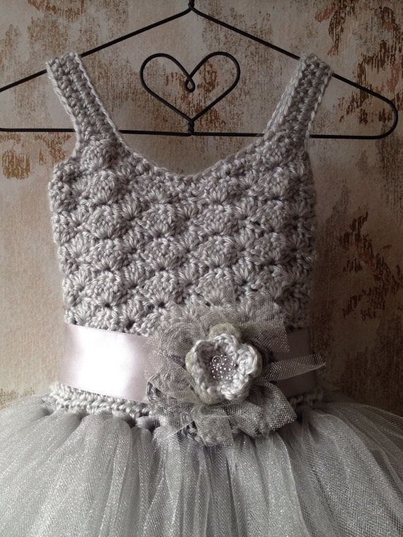 Silver gray tutu dress. Shell be a Qt2t!!! Perfect for flower girls or special occasions. I crochet the top of this dress with soft light gray yarn and hand