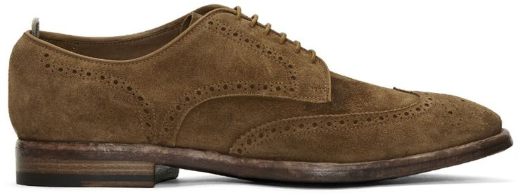 OFFICINE CREATIVE Brown Suede Princeton Brogues. #officinecreative #shoes #flats