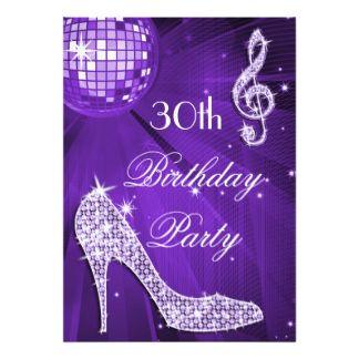 Schein-Heels-lila Disco-Ball-30. Geburtstag 12,7 X 17,8 Cm Einladungskarte