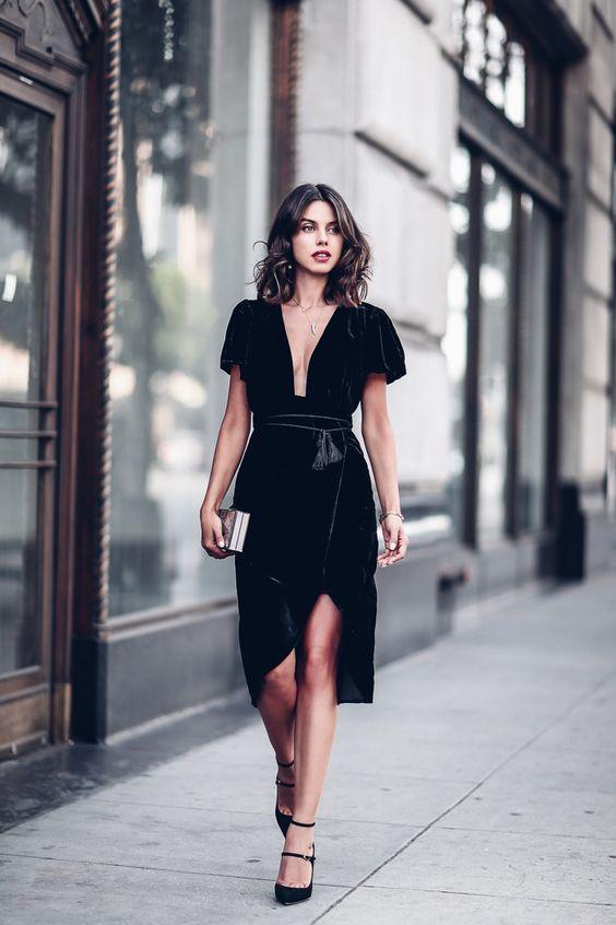 a black velvet dress with short sleeves 15db6fbec