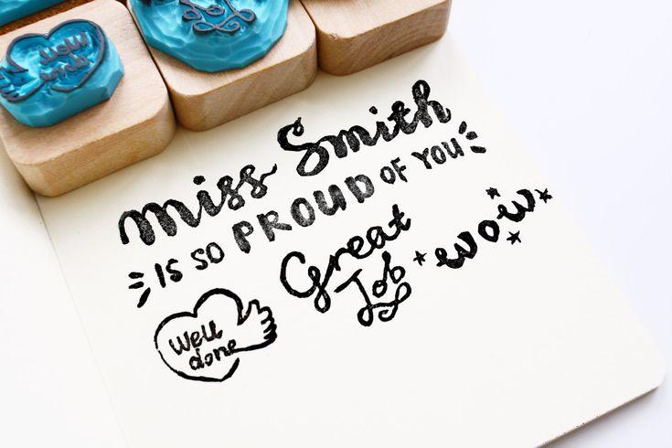 Lehrer Stempel Set mit Holzgriff/ Teacher Stamps Set with Wood Handle von MoaStamps auf Etsy