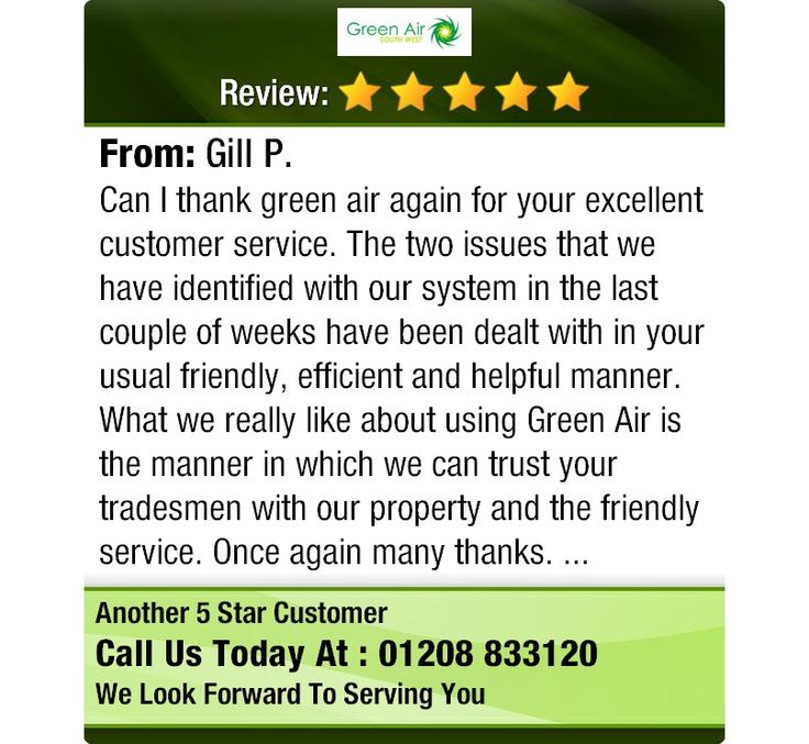 Can I thank green air again for your excellent customer service - excellent customer service
