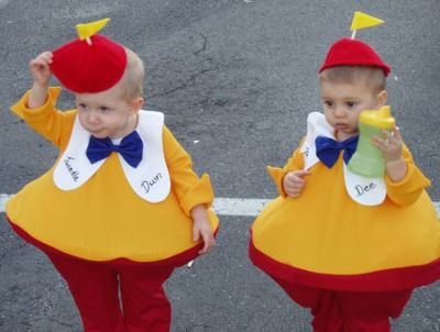 "Parenting.com mom Rachel from Virginia told us: ""I wanted to come up with something original for my twins to be for #Halloween and came up with Twiddle Dee and Tweedle Dum. They looked so cute!"""