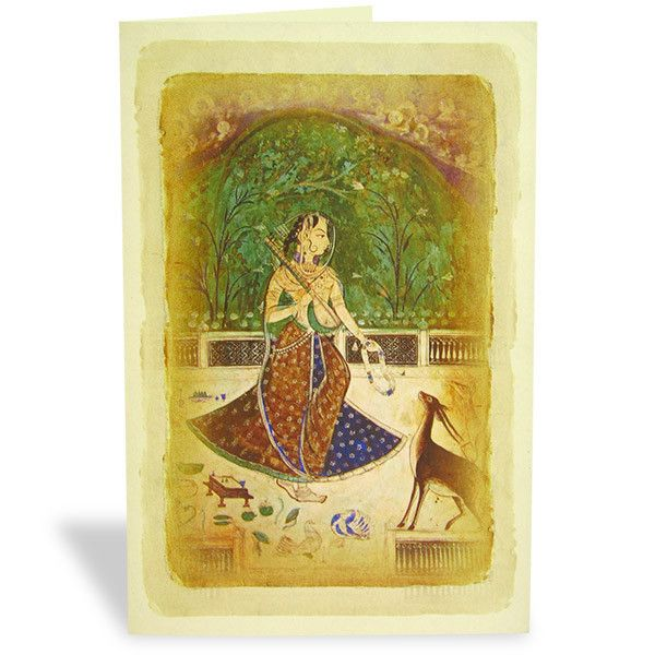 Lady With Deer Mughal Art Card  A Mughal Art Card that's beautiful enough to make your wishes lovelier and your loved ones happier. | Rs. 75 | Shop Now | https://hallmarkcards.co.in/collections/shop-all/products/lady-with-deer-mughal-art-card | Card Size :20.5*14